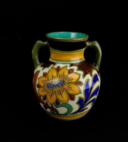 Gouda Pottery Vase / Pot / Double Handled 1920's Art Deco / Yellow / Blue Floral